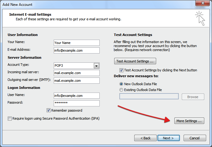 how to delete outlook account 2010
